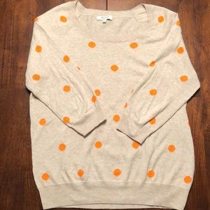 Madewell Tan and Orange Polka Dot Sweater
